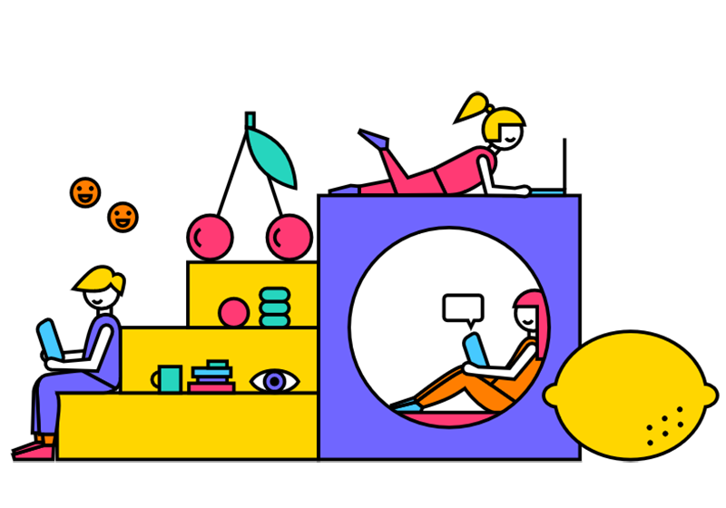 En illustration av en trappa och en fyrkant - det sitter tre illustrerade människor på formerna tillsammans med illustrerade frukter och kontorsmaterial