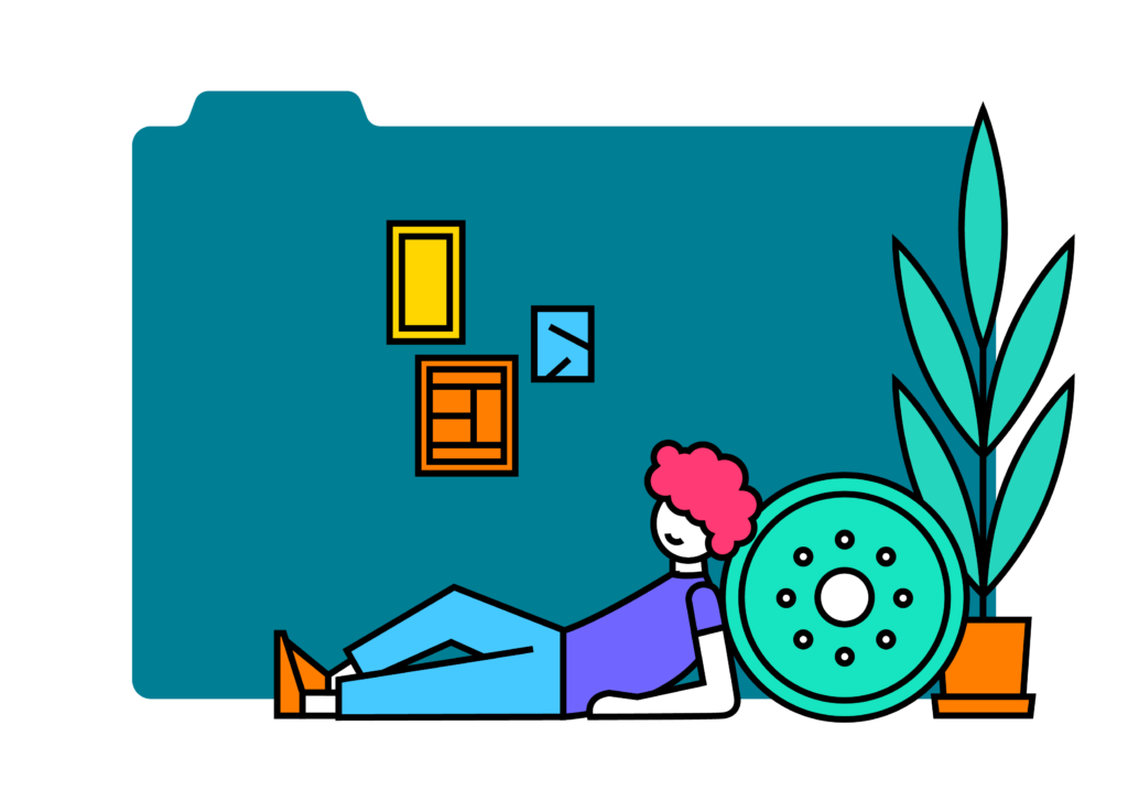 Illustration of a person laying in front of a folder with graphic illustrations around